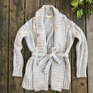 {Zara} Beige Chunky Knit Long Tie Cardigan, M